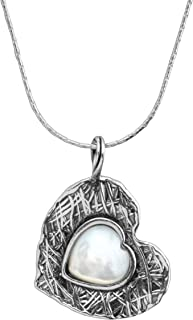 Silpada 'Forget-Me-Knot' Natural Mother-of-Pearl Heart Pendant Necklace in Sterling Silver