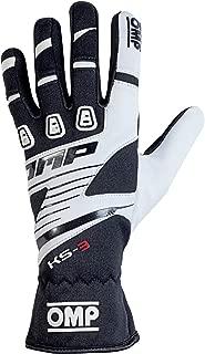 OMP KS-3 Karting Gloves (Size Small, Black/White)