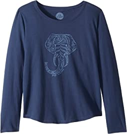 Primal Elephant Smiling Smooth T-Shirt Long Sleeve (Little Kids/Big Kids)