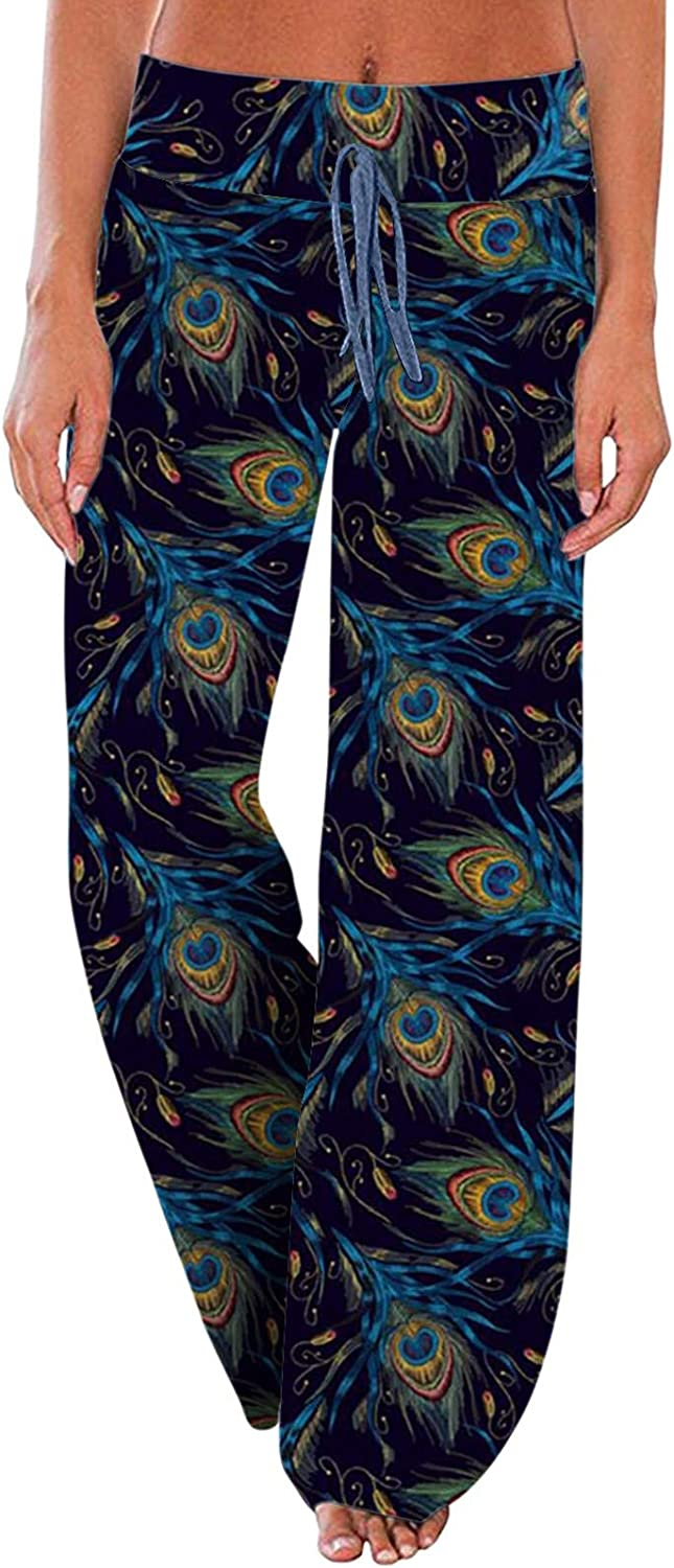Pajama Pants for Women Lightweight,Lounge Pants Floral Sweatpents Comfy Casual Stretch Palazzo Drawstring Pants