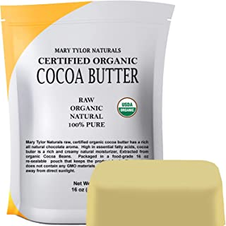 Organic Cocoa Butter (1 lb), USDA Certified by Mary Tylor Naturals Raw Unrefined,..