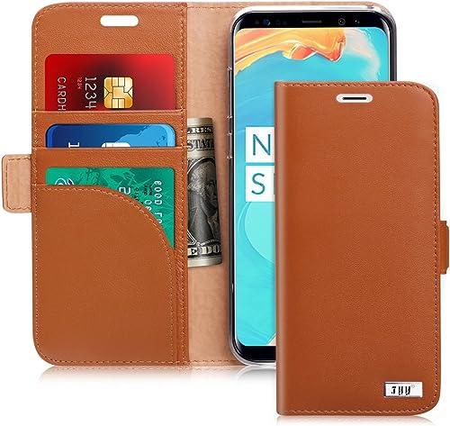 FYY Samsung S8 Plus Case, S8 Plus Cover [Kickstand Feature] Flip Folio Samsung Galaxy S8 Plus Genuine Leather Wallet ...