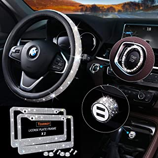 5 Pack Bling Car Accessories Set, Bling Steering Wheel Cover for Women Universal Fit 15 Inch, Bling License Plate Frame fo...