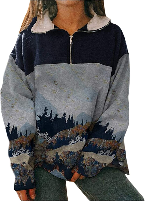 FUNEY Women's Half-Zipper Turtleneck Sweatshirt Top Patchwork Mountain Peak Treetop Print Loose Casual Tunic Tops
