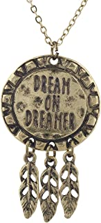Lux Accessories Burnished Gold Tone Dream On Dreamer Dream Catcher Necklace