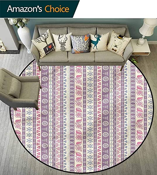 RUGSMAT Striped Computer Chair Floor Mat Ancient Floral Leaves Baby Room Decor Round Carpets Diameter 47