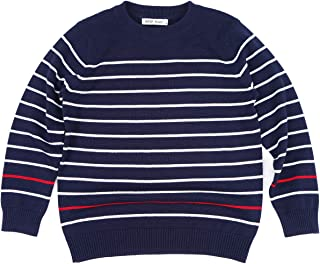 BKN Boys Sweater Crew Neck Towel Embroidered Stripe Pullover Sweater for Boys