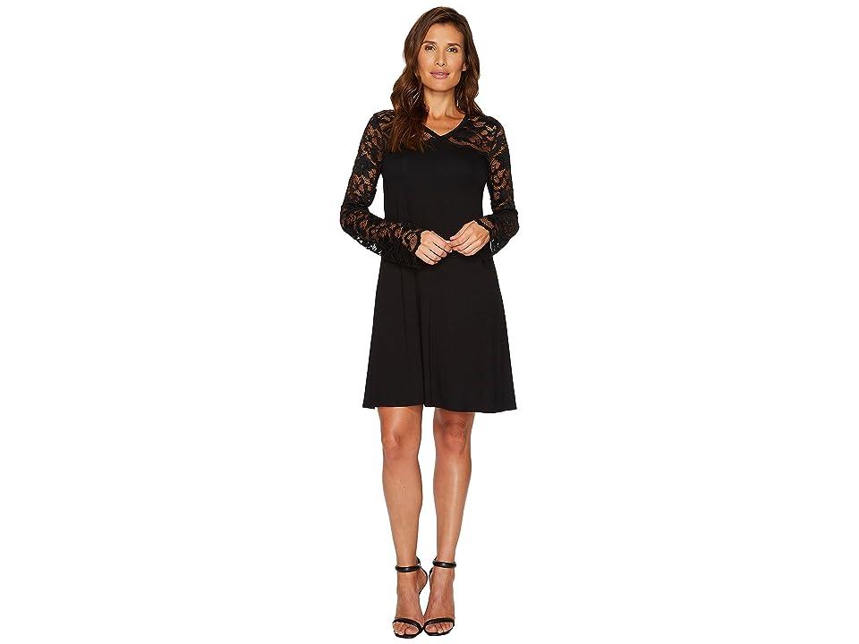 Karen Kane Scallop Lace Contrast Dress (Black) Women