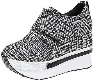 08e9cd90 Mujer Plataforma de cuñas Zapato de Deporte Zapatillas Altas Casual Running  Senderismo Zapatillas Gris Negro Moda