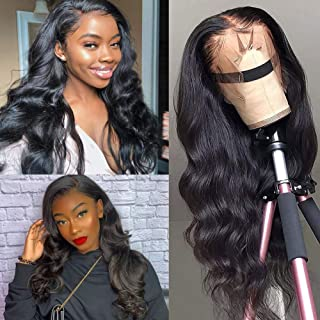 ISEE Hair 13x6 Lace Front Wigs Human Hair 150% Density Brazilian Body Wave Human Hair Wigs For Black Women Pre Plucked with Baby Hair Natural Black 16 Inches