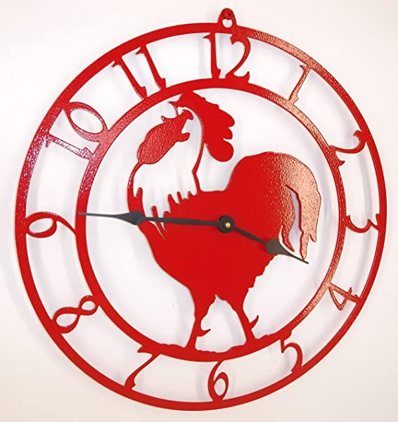 Rooster Clock Fire Red Color With Black Hands Handmade In USA 15 Inch Wide