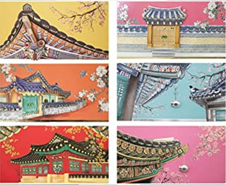 From&to Hanok 6pcs Korean traditional house Envelope Thank you Birthday Wedding Anniversary Invitation New Year Envelope (FB212)