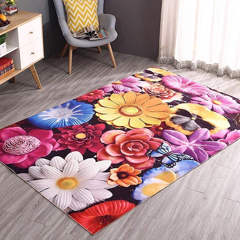 3D Exquisite Non-Slip Bedroom Mats Flower Door Mats Mats Door Mats Door Hall Home Rectangular