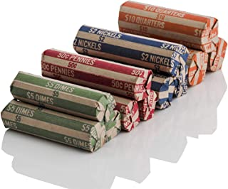 J Mark 400 Neatly-Packed Flat Coin Roll Wrappers Assorted, Made in USA, (Quarters, Dimes, Nickels, Pennies), ABA Striped Kraft Paper Coin Rolls Wrappers, Includes J Mark Deposit Slip