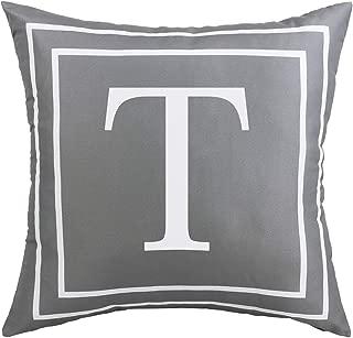 BLEUM CADE Gray Pillow Cover English Alphabet T Throw Pillow Case Modern Cushion Cover Square Pillowcase Decoration for Sofa Bed Chair Car 18 x 18 Inch