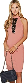 Women's Deep V Neck Eyelet Lace Up Halter Neck Sleeveless Bodycon Midi Dress in Pink, Teal, Black, and White