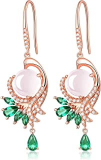 Fine Jewelry Gifts for Women Sterling Silver and plated with Rose gold Natural Gemstone Rose-Quartz Dangle Drop Earrings