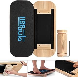 HSPauto Balance Boards,  Wood Balance Board W/Special Orbit Design & 27.6 Wood Standing Desk Anti-Slip Surface & Roller for Surfing,  SUP,  Wakesurf,  Wakeskate,  Ski,  Snowboard and Skateboarding