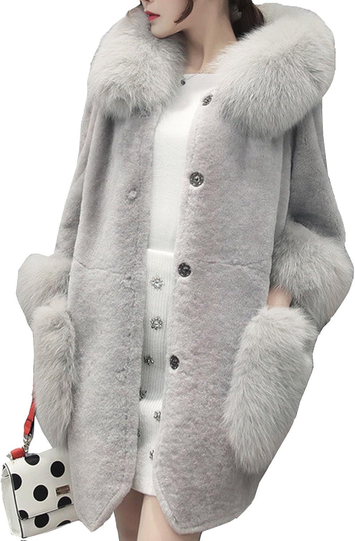 S&S-women Luxury Cute Coat Rabbit Fur Lapel Collar Parka Gray Red