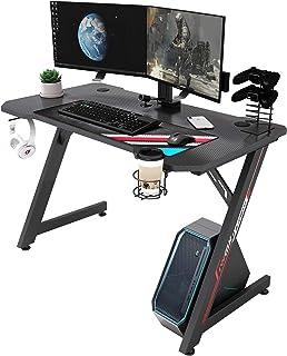 IntimaTe WM Heart Bureau Gaming, Z Bureau Gamer d'Ordinateur, Ergonomique Gaming PC Table Fibre de Carbone,Table Gamer pou...
