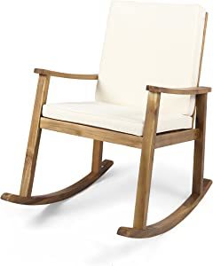 Christopher Knight Home 304648 Caspar | Outdoor Acacia Wood Rocking Chair, Teak Finish/Cream Cushion