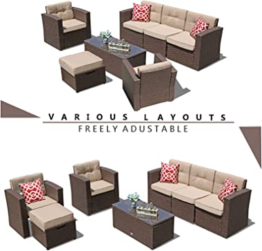 Super Patio 7 Piece Patio Furniture Set, Outdoor Sectional Rattan Sofa Set, All Weather Wicker Conversation Couch Set with Be