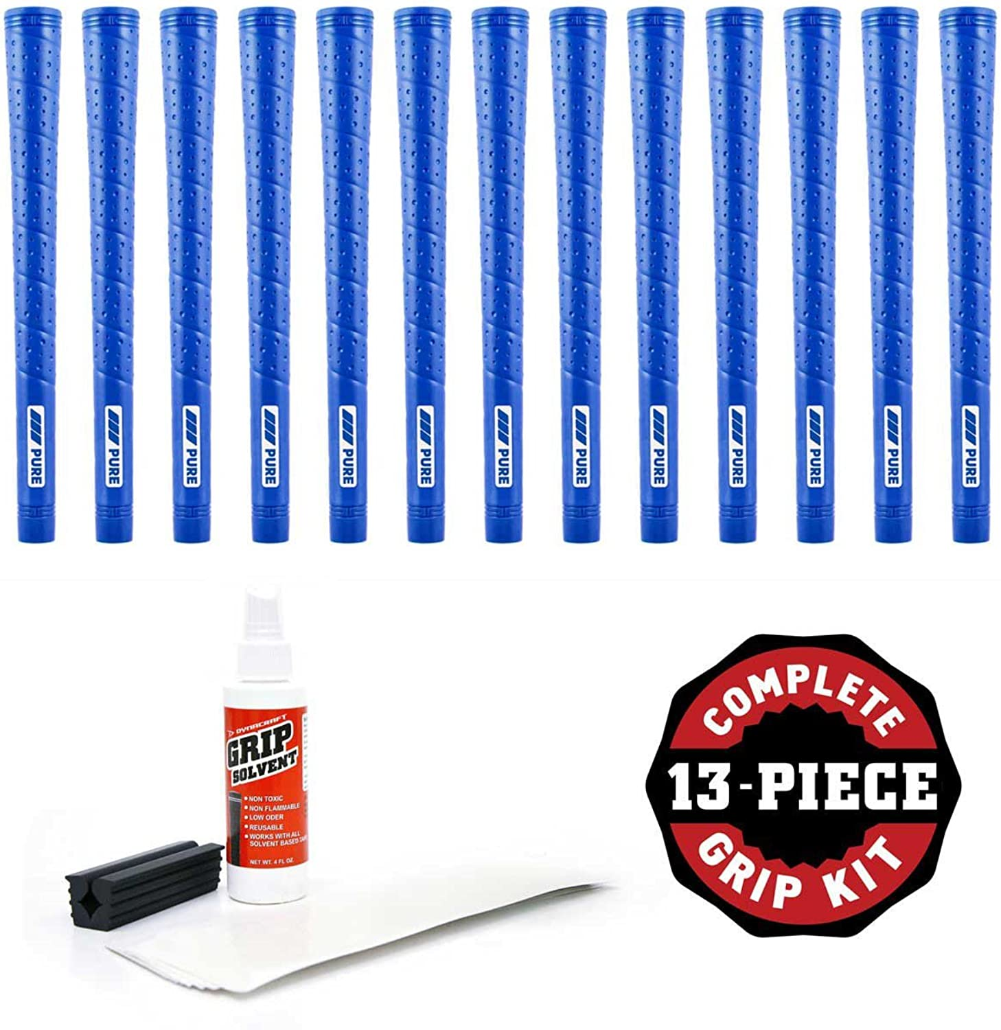 Pure Grips Midsize Wrap blueee13 Piece Grip Kit (with Tape, Solvent, Vise Clamp)