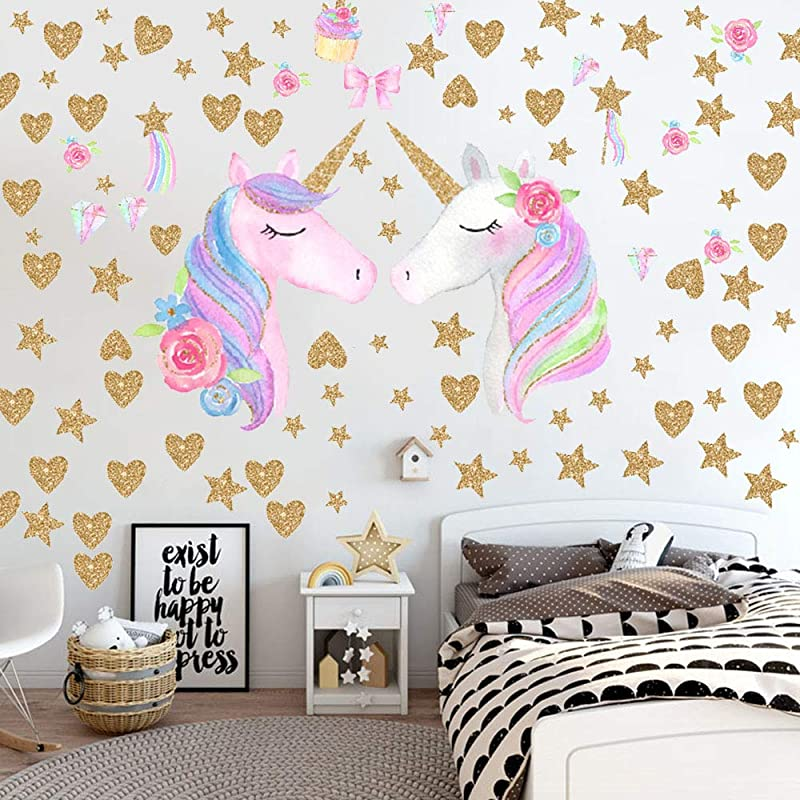 Unicorn Wall Decals 2 Pack Unicorn Wall Sticker Decor For Unicorn Party Supply Birthday Christmas Gifts For Kids Bedroom Decor Nursery Room Home Decor