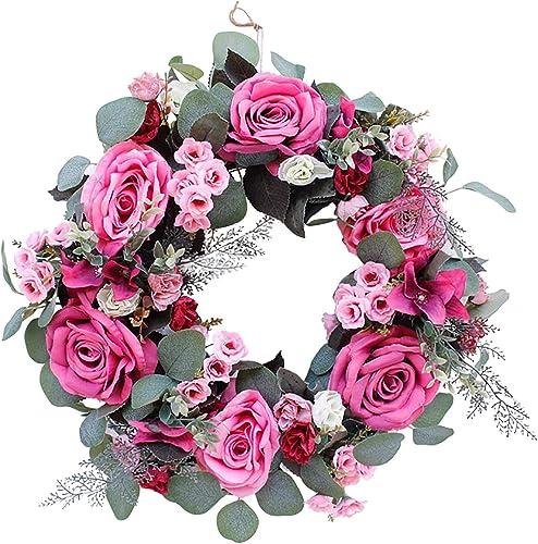 2021 Artificial Peony Rose Flower Wreath for Front Door Handmade Floral discount Wreath Spring Summer Garland Wreath Farmhouse Door Window Hanging Decor Wall popular Wedding Party Home Decor, 16Inch online sale