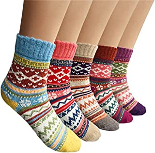 Womens Thick Wool Warm Socks Winter Soft Knit Fashion Vintage Style Casual Cozy Crew Socks, Top Quality, 5 Pack