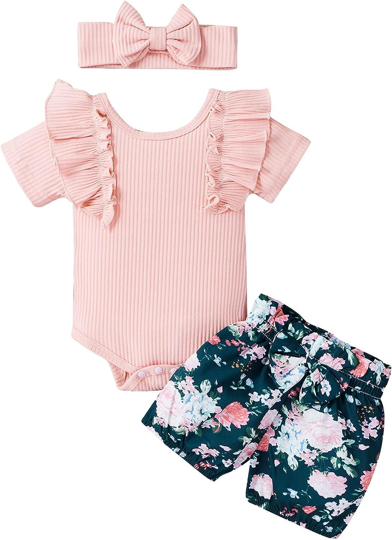 Yunersea Baby Girls Summer Clothes Sunshine Polka Dot Outfits Bodysuits Shorts Headband