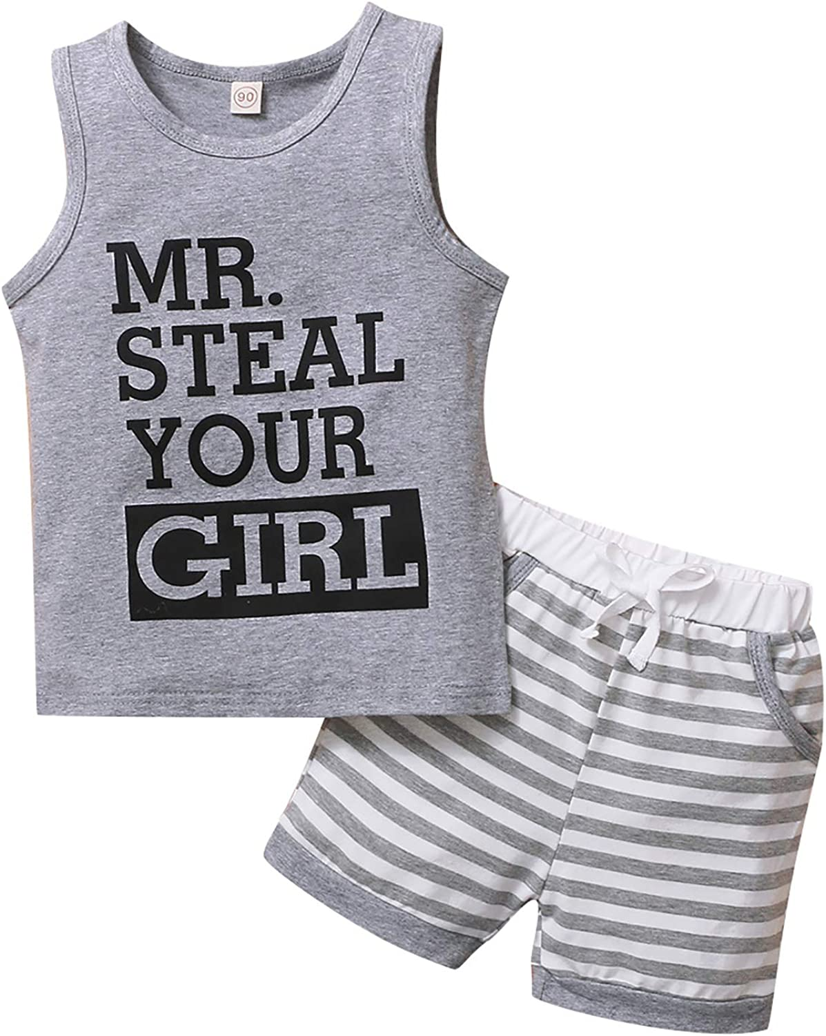 Toddler Infant Baby Boy Summer Clothes Sleeveless Letter Top T-Shirt Tank Top Camo Cargo Shorts Outfit Set