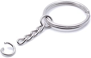 Metal Split Keychain Ring Parts - 50 Key Chains with 28mm Open Jump Ring and Connector - Make Your Own Key Ring