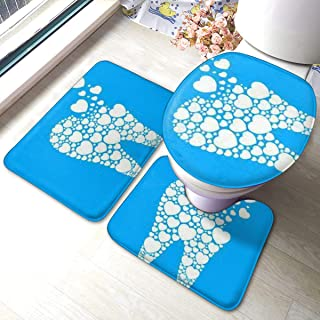 LNUO-2 3 Pieces Bathroom Rug Set, Love Dentist Oral Cavity Tooth Door Mat, U-Shaped Contour Rug, Mat and Toilet Lid Cover-Shoe Rugs