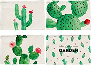 4Pcs Everyday Cactus Pattern Placemat Cotton Linen Table Mats
