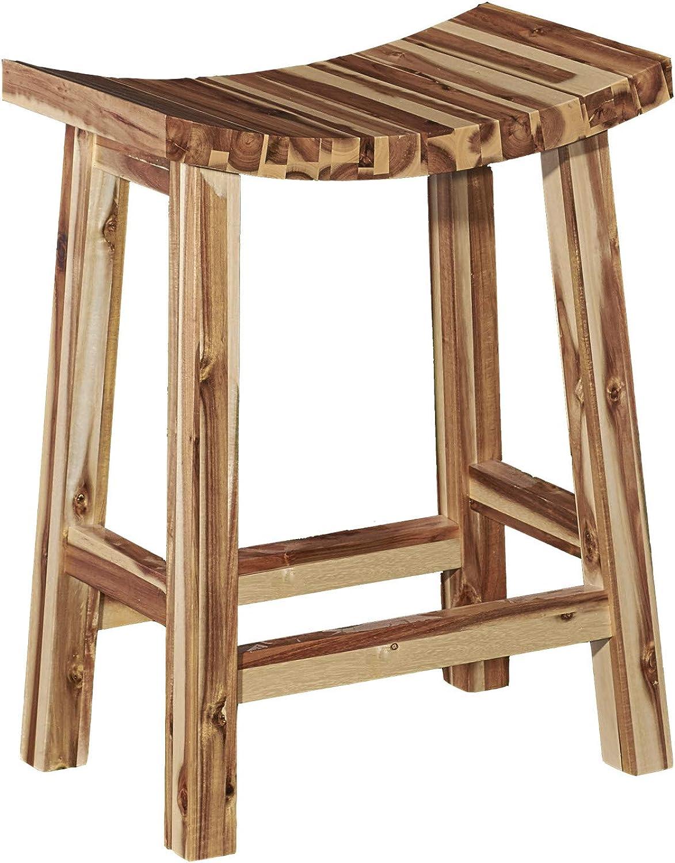 Powell Furniture D1020B16CS Dale Saddle Bar Stool Natural Wood