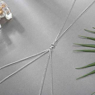 Jozape Layered Body Chain Rhinestone Body Chain for Women and Girls (Silver)