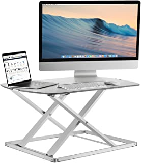 Mount-It! Standing Desk Converter, Height Adjustable Sit Stand Desk, 31x22 Inch Preassembled Stand Up Desk Converter, Ultra Low Profile Design, 22 Lb Capacity