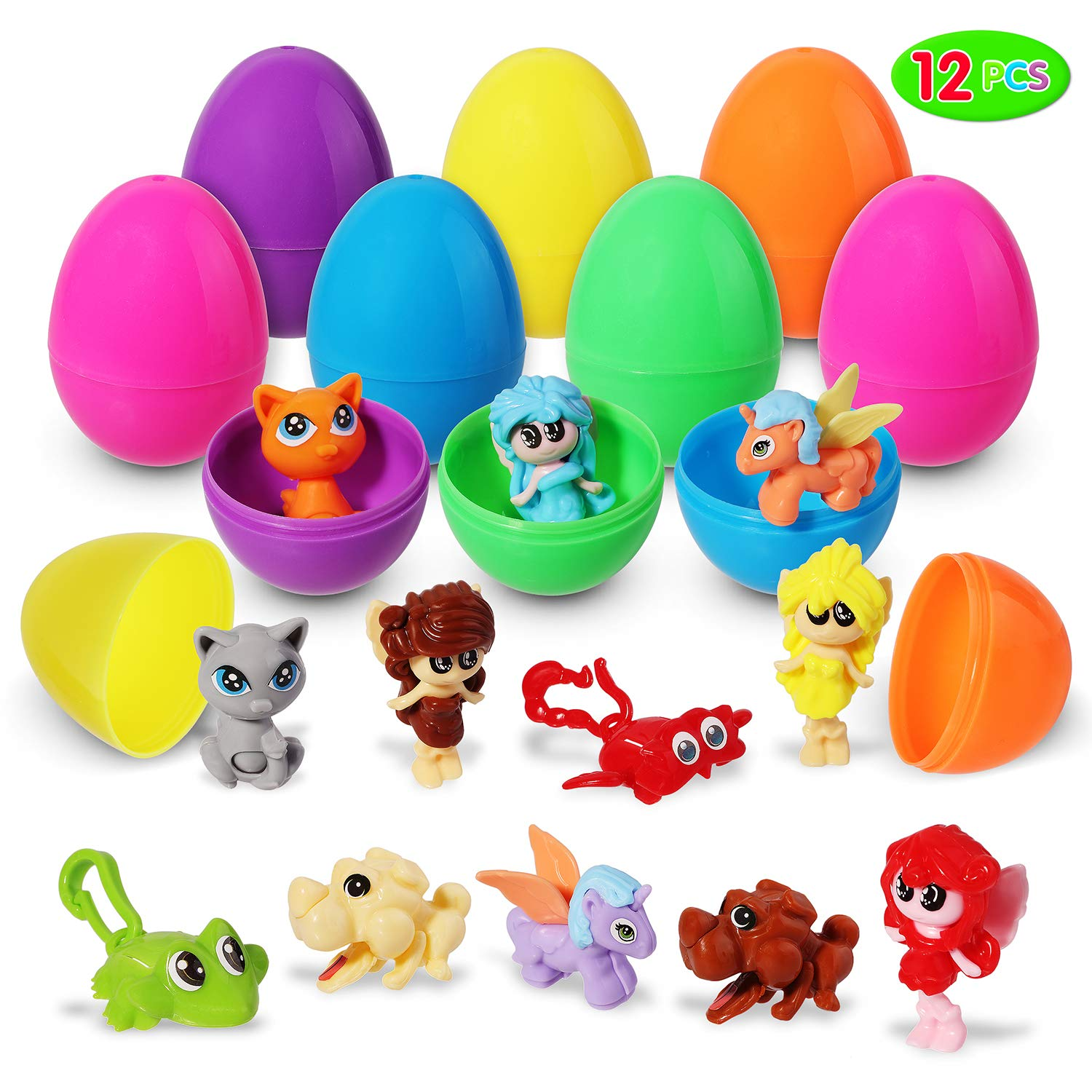 """/& Party Favors Children Toddler Egg Hunting 25 Pack Fillable Decorative Plastic Hinged Easter Eggs Treat Containers for Kids 2/"""" Easter Baskets Gold"""