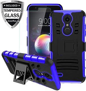 LG K30 Case,LG K10 2018/LG Xpression Plus/LG CV3 Prime/LG Harmony 2/LG Phoenix Plus/Premier Pro LTE Case w/Tempered Glass Screen Protector,Kickstand Heavy Duty Shockproof Protective Phone Cover,Blue
