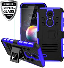 LG K30 Case,LG K10 2018/LG Xpression Plus/LG CV3 Prime/LG Harmony 2/LG Phoenix Plus/Premier Pro LTE Case w/Tempered Glass Screen Protector,Kickstand Heavy Duty Shockproof Protective Phone Cover,Blue