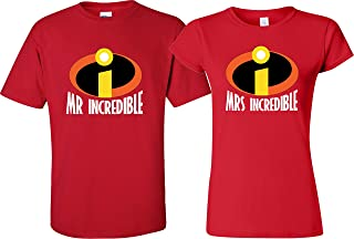 Mrs Incredible and Mr Incredible Couple Matching Shirts