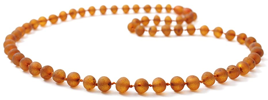 Raw Baltic Amber Necklace - Adult Size (Women and Men) - 19.5 inches (50 cm) - Unpolished Amber Beads - BoutiqueAmber (19.5 inches, Cognac)