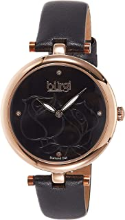 Burgi Women's Diamond Accented Rose Etched Dial Genuine Leather Strap Watch - BUR151