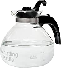 CAFÉ BREW COLLECTION WK112 Cafe Brew 12 cup Glass Stovetop Whistling Kettle, c