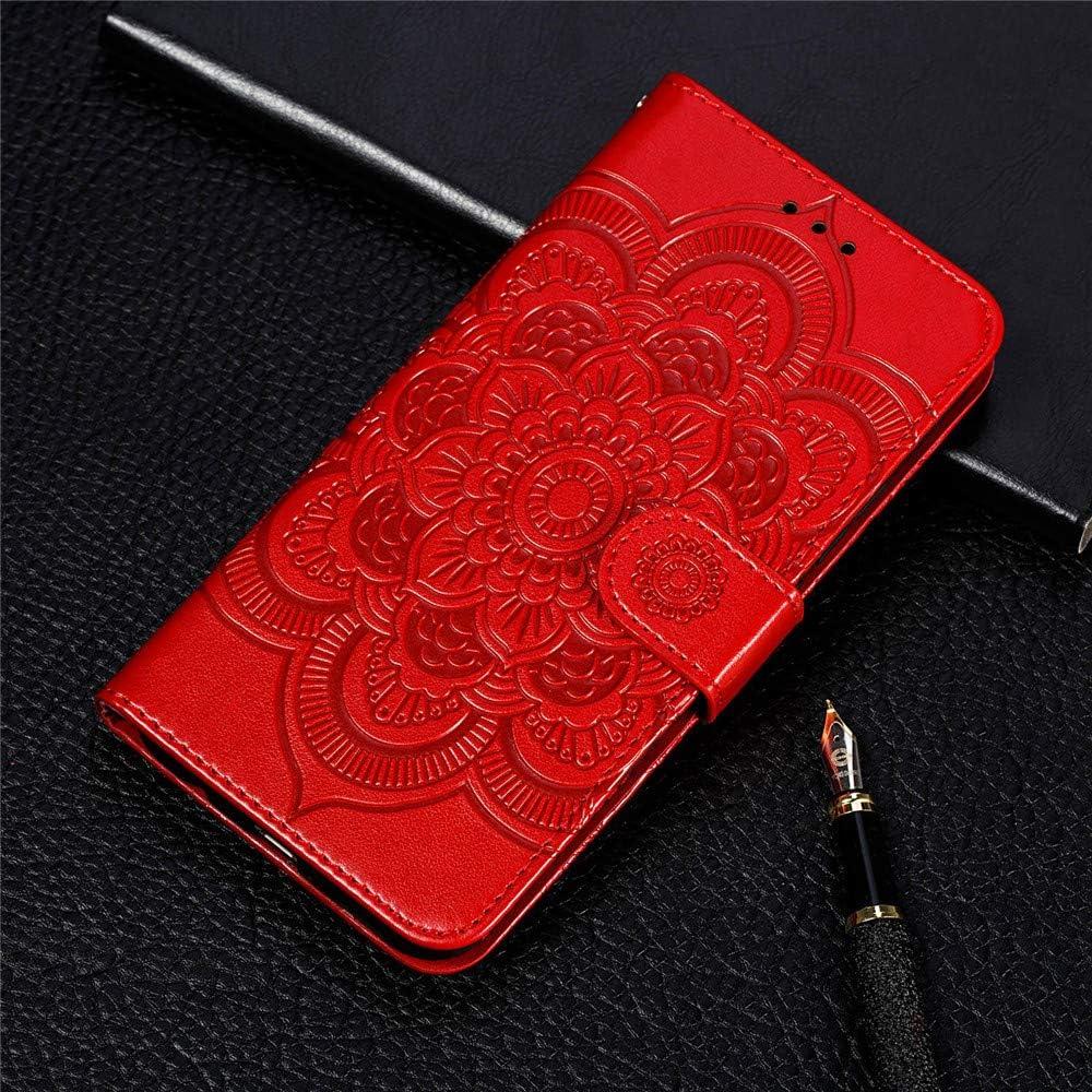 COTDINFORCA Compatible avec Xiaomi Redmi 9C Coque Svelte PU Leather pour Les Filles Elegant Retro Lucky Flowers Shockproof avec b/équille Protecteur Mince /Étui pour Redmi 9C Red Mandala LD.