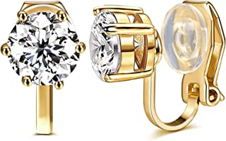 Cubic Zirconia Clip On Gold Stud Earrings,1.5 Carat/8mm Round Cut Simulated Diamond CZ Stud Earrings