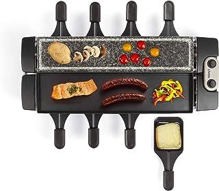 Raclette Grill 8 personnes Plaque de gril électrique Grill de table en pierre chaude (8 poêlons 1280 W, plaque en granit, ...