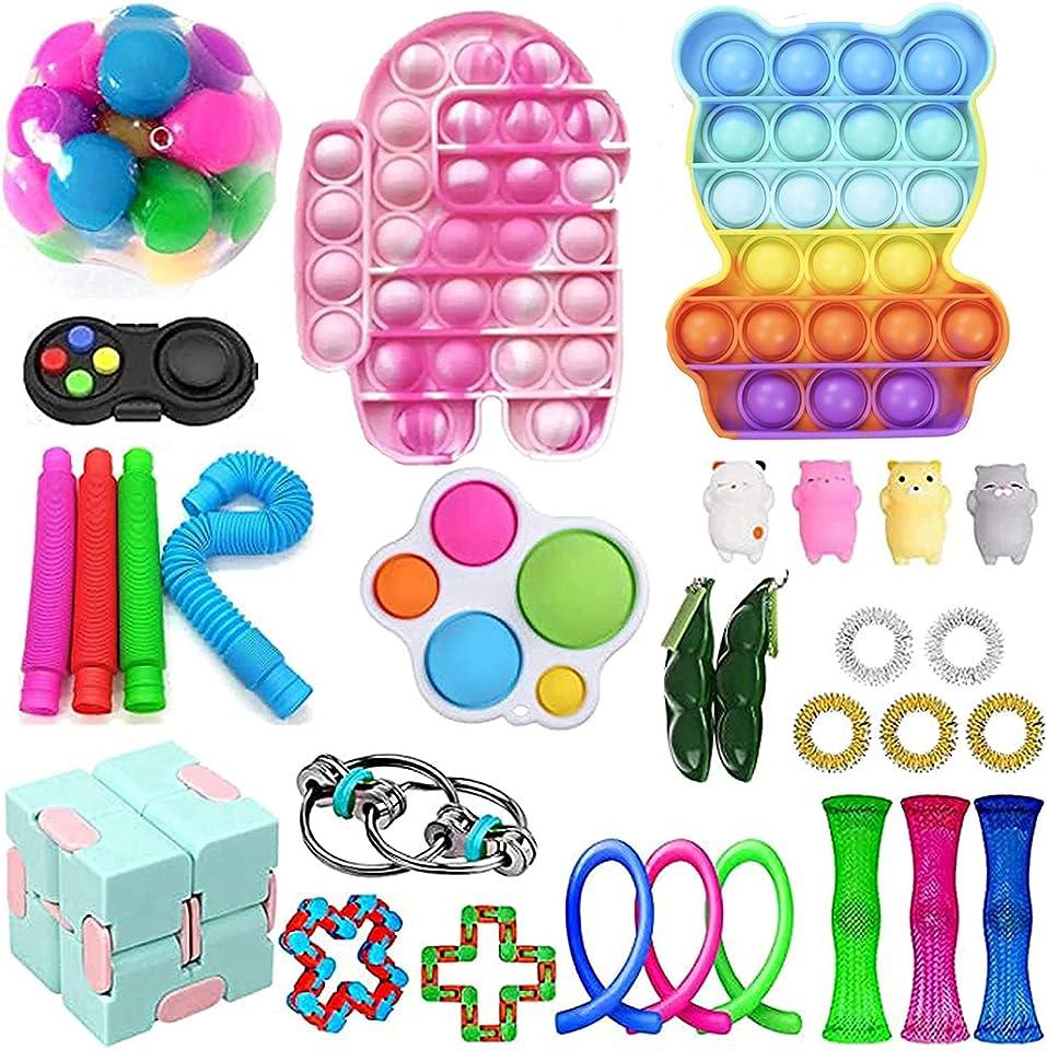 Sensory Fidget Toy Set Tik Tok Push Bubble Pop Zappeln Toy Pack Stressabbau Zappeln Toy Bag Autismus Special Need Stressabbau Spielzeug für Kinder Erwachsene