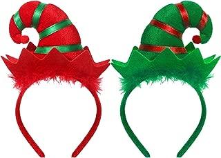 WILLBOND 2 Pieces Christmas Headband Elf Headband Multicolored Elf Hat Headband for Girls Women Christmas Party Favors